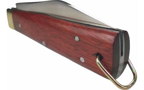 canivete mineiro aço inox cabo madeira lâmina com ponta 18cm