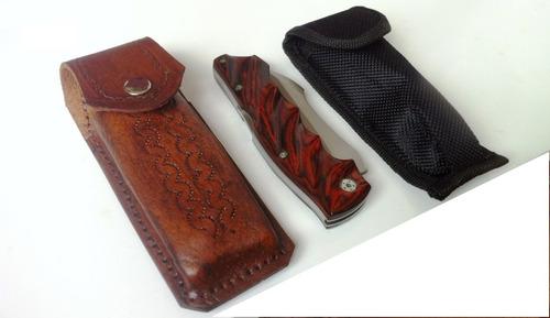 canivete outdoor com trava back lock e bainha de couro red