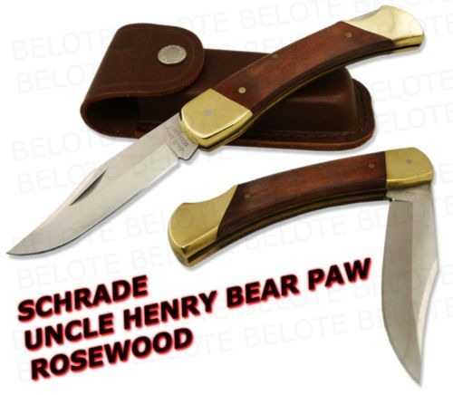 canivete schrade uncle henry rosewood lb7 c/ bainha em couro