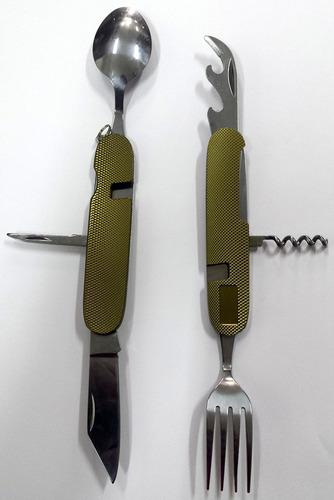 canivete talher camping talheres inox militar sobrevivencia