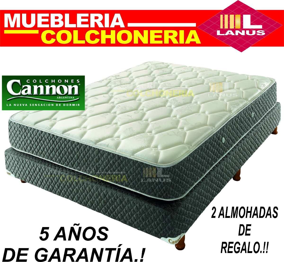 Sommier Y Colchon Cannon Doral 2 Plazas 140x190 + Almohadas