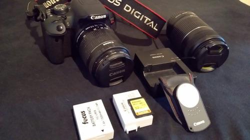 cannon t5i + lentes 18-55 e 55-250 + 2 baterias + controle