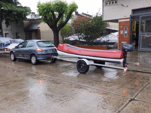 canobote 3,80 mts. trailer y motor 2,2 hp nautica milione 1