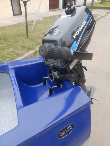 canobote 3,80 mts. trailer y motor 2,2 hp nautica milione 2