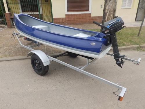 canobote 3,80 mts. trailer y motor 2,2 hp nautica milione 3