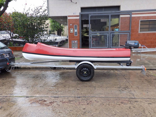 canobote 3,80 mts. trailer y motor 2,2 hp nautica milione 5