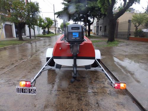 canobote de lujo 3,80 mts. con motor y trailer equipo nuevo!