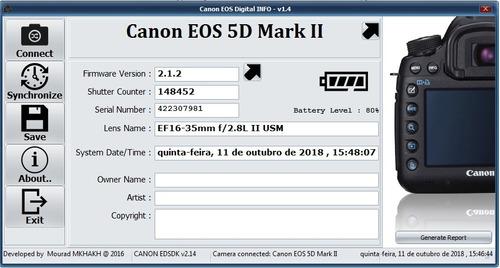 canon 5d mark ii - só o corpo - 148.450 cliques (descrição)