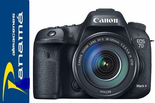canon cámara profesional eos 7d mark ii + lente kit 18-135mm