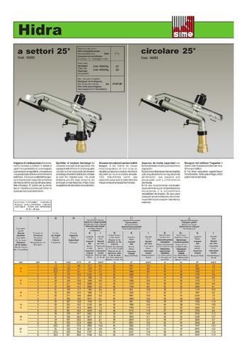 cañon / cañones / aspersor de riego 1 1/2  rh mod: hidra