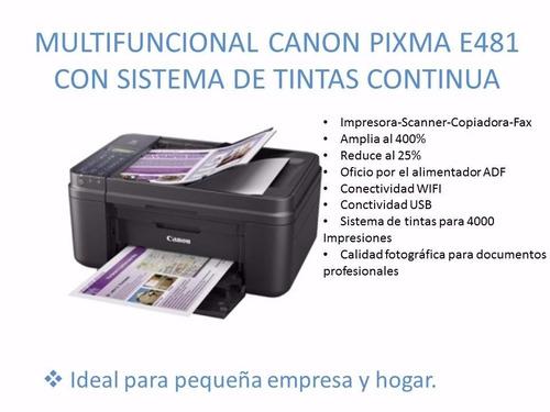canon e481 wifi- tinta continua de lujo+4 tintas adicionales