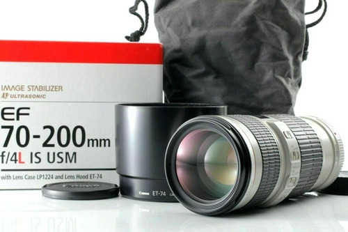 canon ef 70-200mm f/4 l is usm lens w/ hood, case, from