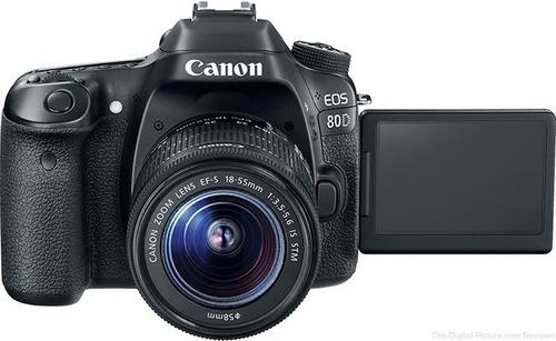 canon eos 80d  + lente 18-135mm + estuche + memoria 32gb