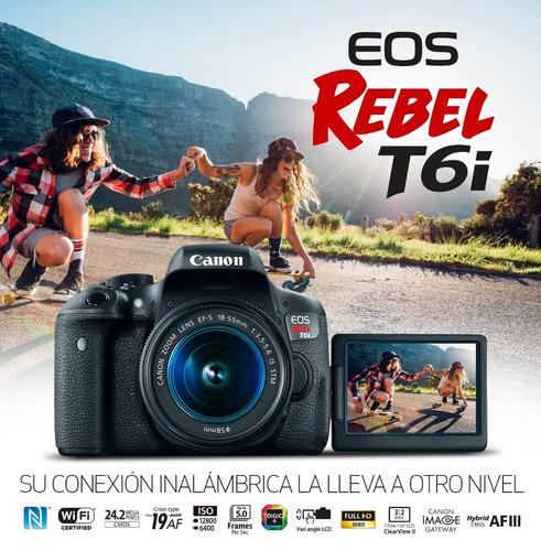 canon eos rebel t6i dslr+kit lente 18-55 is stm+memoria sd32