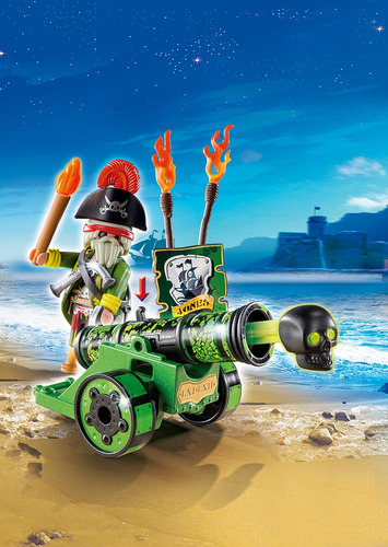cañon interactivo verde capitan pirata playmobil r5223