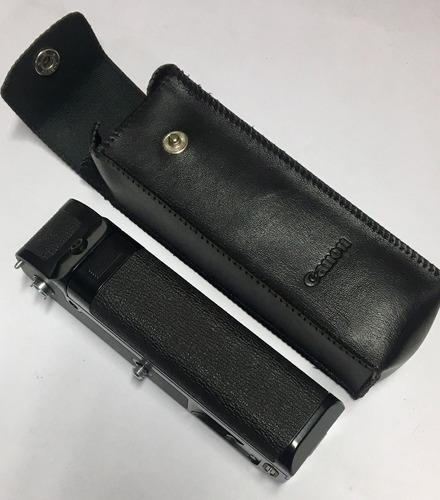 canon power winder a porta-flash con estuche de cuero negro