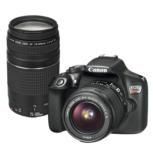 canon rebel eos t6 kit con lente 18-55 + 75-300 mm