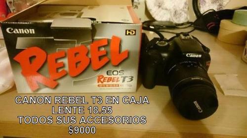 canon reflex + lente 18.55. en caja. usado