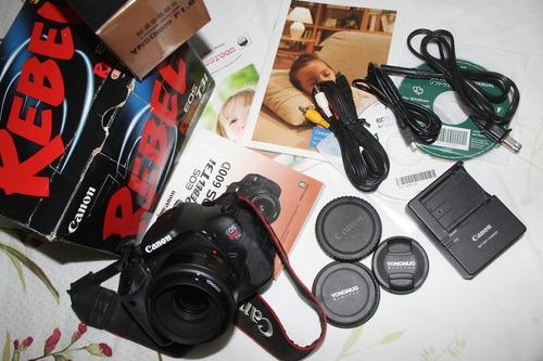 canon t3i 600d completa!  + lente 50mm. desconto a vista  !