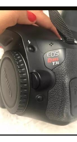 canon t3i corpo + carregador + alça + bateria + cartão sd