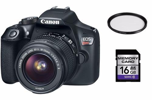 canon t6 lente 18-55mm +16gb + filtro uv