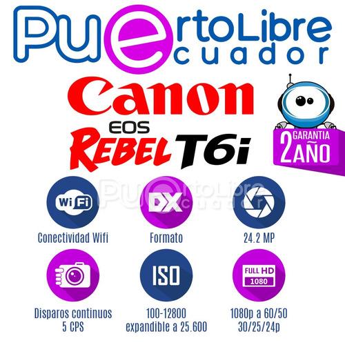 canon t6i - 24.2mp - wifi + lente + maleta + memoria 6 4 g b