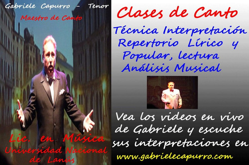 cantante lírico show tenor opera canzonettas tango melódico