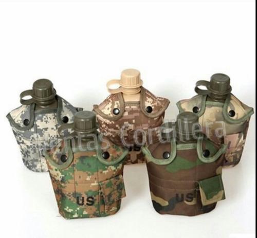 cantimplora c/vaso aluminio militar/tactica/outdoor/camping