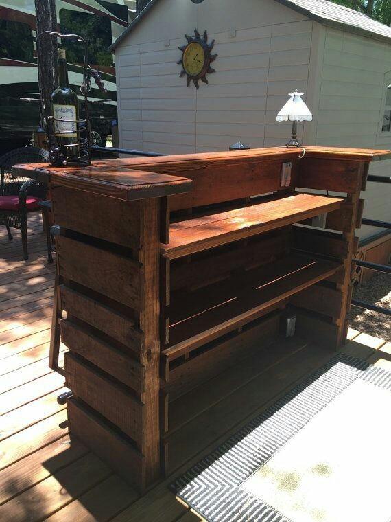Cantina de madera estilo palet 3 en mercado libre for Cerco mobile sala