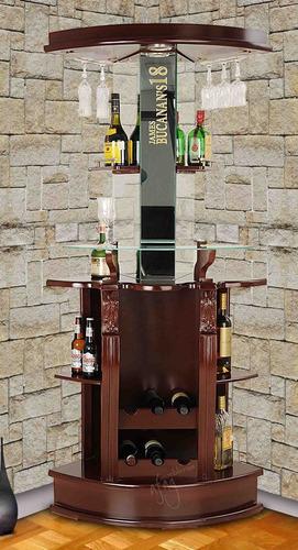 cantina esquinera nogal clásico p botellas copas barra vinos
