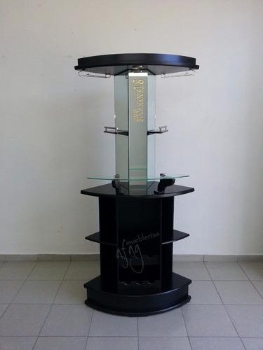 cantina moderna esquinero chocolate luz led botellas portacopas barra contrabarra vinos repisa muebles ahorra espacio