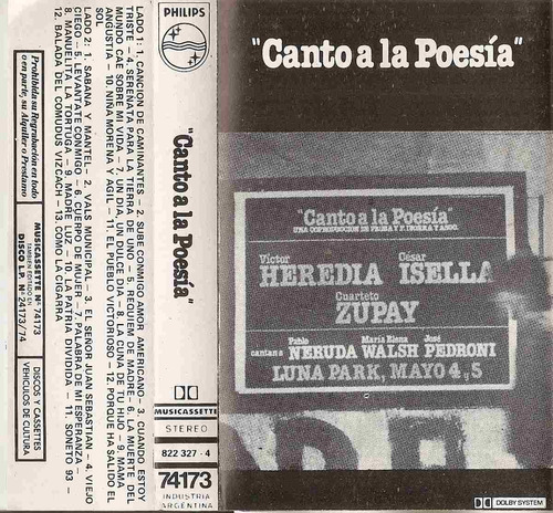 canto a la poesia - victor heredia isella zupay - cassette