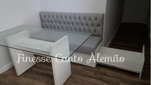 canto alemão modelo reto - banco e mesa medindo 1.80m