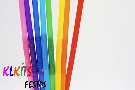 canudo dobravel drink kit c/200 flexivel decorativo festa