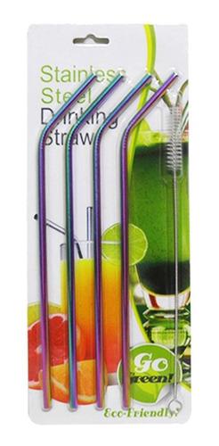 canudos kit 4 aço inox metal furtacor ecológico curvo escova