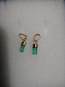 ea1c2c341bbd Canutillos De Esmeralda En Oro Italiano 18 K 750