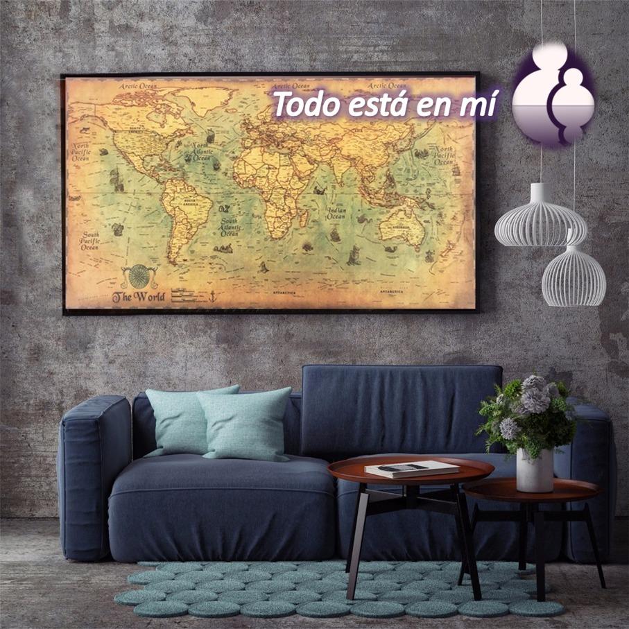 Canvas Mapa Mundi Lienzo Canvas Tela Cuadro Sin Marco