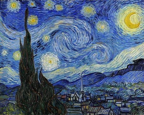 canvas van gogh noche estrellada 106x84cm lienzo importado