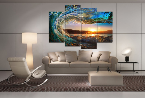 Cao Gen Decor Art-s70448 4 Panels Framed Wall Art Waves Pain ...