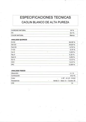 caolin de alta alúmina en polvo (#325) x 25 kgs.