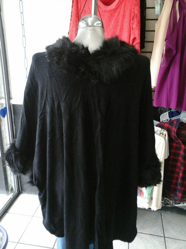 capa abrigo poncho peluche sintético fax fur