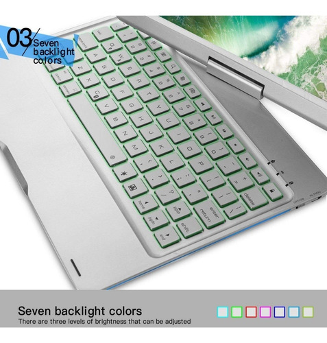 capa alumínio 360° c/ teclado retroiluminado ipad pro 10.5''