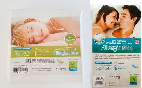 capa anti acaros colchão solteiro + capa travesseiro brinde