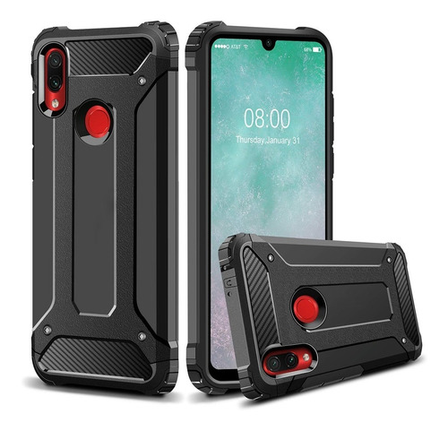 capa anti shock redmi note 7 tela 6.3+pelicula vidro 3d full