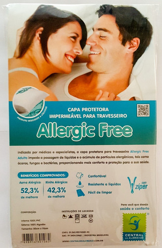 capa antialégica antiácaro p/ travesseiro adulto algodão/pvc