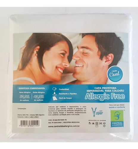 capa antialérgica antiácaro colchão casal algodão/ pvc zíper