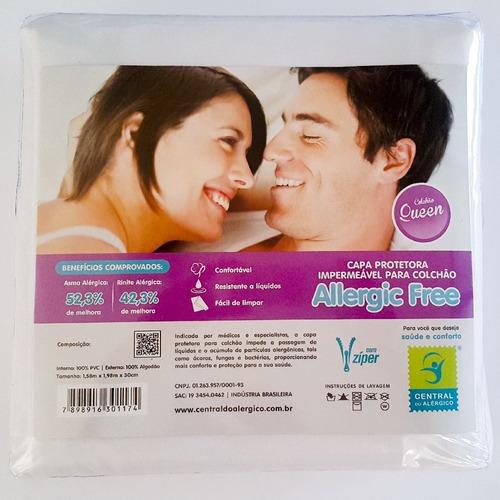 capa antialérgica antiácaro colchão queen algodão/ pvc zíper