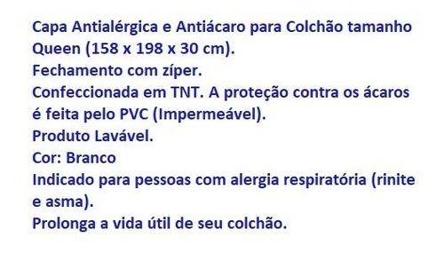 capa antialérgica antiácaro colchão queen em tnt / pvc ziper