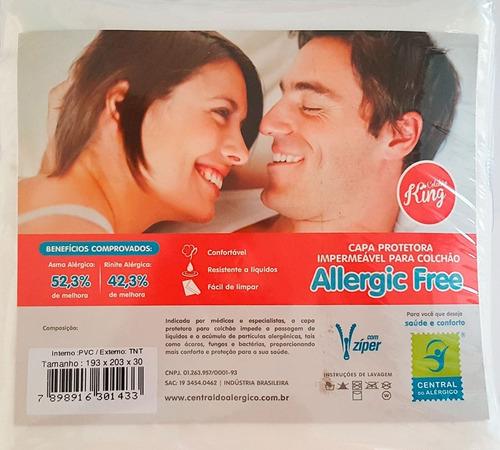 capa antialérgica antiácaro p/ colchão king - tnt/ pvc ziper