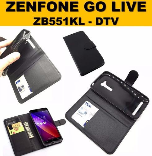 capa antishock carteira couro asus zenfone go live zb551kl